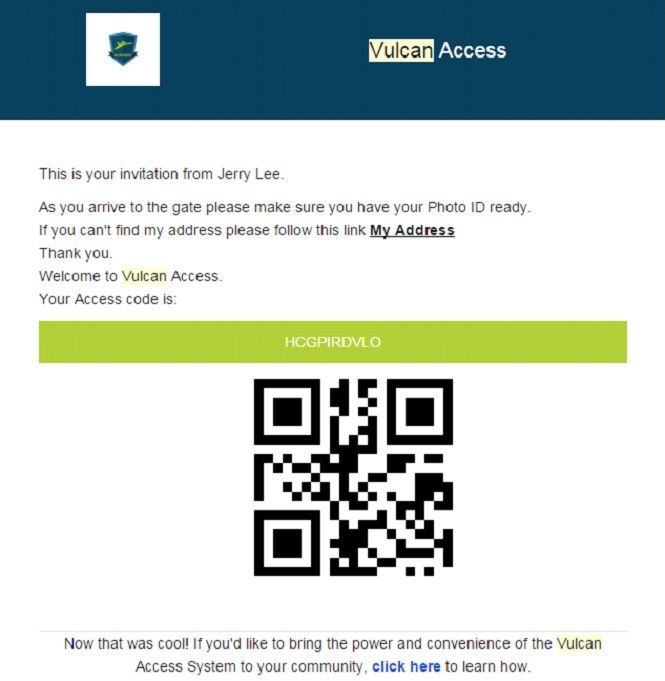 An example of an invitation with a QR code