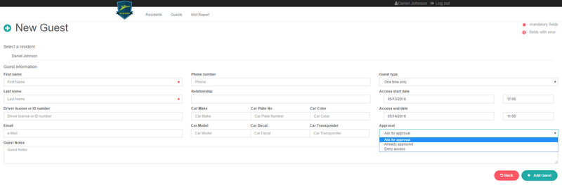 Adding new guests from the San Messina web interface