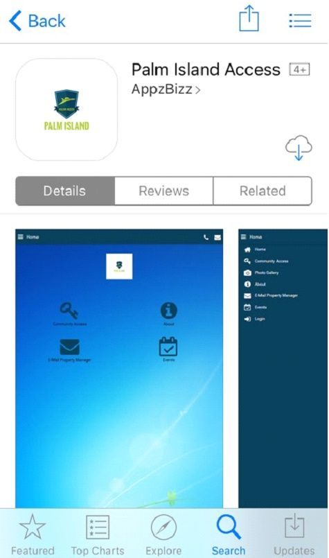 Palm Island Access - an example of a community access app on App Store